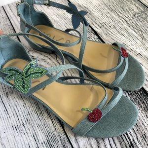 Unisa, chambray, strappy sandals, 8.5M, cherries